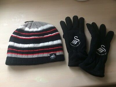 swansea city hat and gloves