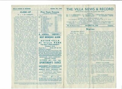 Aston Villa v Coventry City - 09/10/1943