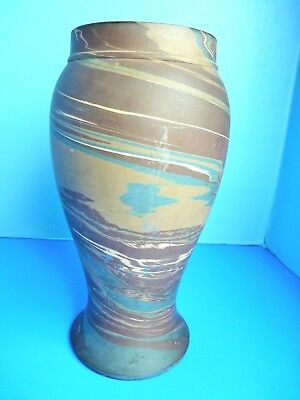 "Niloak Antique Large 9.5"" Vase Early Mark  Beautiful Arts & Crafts Piece"