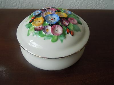 Vintage Art Deco Tuscan China Trinket Pot And Lid  Garden Flowers