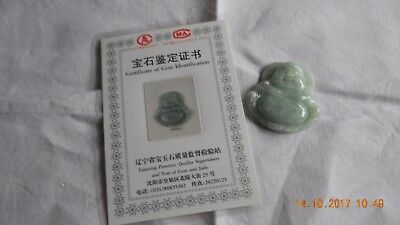 Jade buddha pendant with certificate