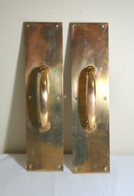 Pair Large Lacquered Solid Brass Door Handles Pulls w/ Back Plates Architectural