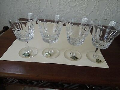 4 Beautiful Royal Brierley Lead Crystal Wine/large Sherry Glasses Never Used Exc