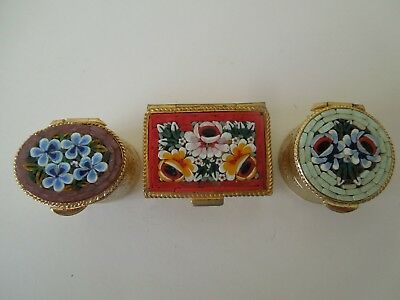 3 Pretty Micro Mosaic  Pill Boxes With Flowers