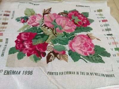 Vintage Ehrman tapestry canvas only blooming roses part completed