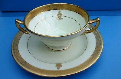 "Minton, Higgins & Seiter, ""New York"" Bouillon Cup & Plate,heavily Gold Embossed"