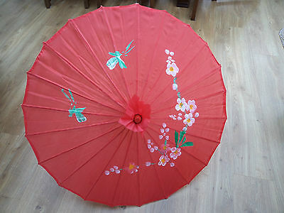 Hand Painted Fabric Japanese Style Decorative Pink Parasol