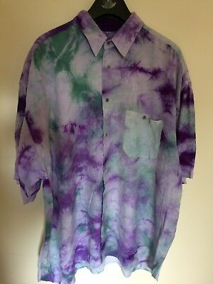 Men's Vintage Loud Patterned Shirt Festival Rave 80s 90s Party Hipster Tie Dye