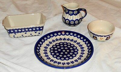 Polish Pottery Items  Stoneware Hand Made in  Poland Take a LOOK Very Nice !!!!!