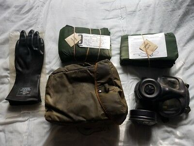 British Army NBC CBRN Unused Smock and trousers S6 Gas Mask, Haversack, gloves