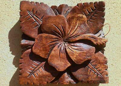 Hibiscus Hard Wood Carved Wall Hanging Decor Art Bali Balinese Carving 10Cm