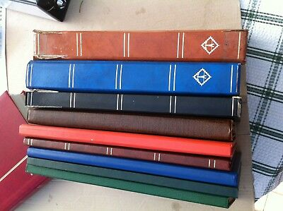 9 Used Stamp Stockbooks 6 X 16 Sides , 1 X 32 , 2 X 48 Clean Inside 796