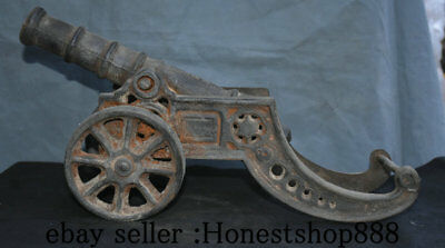 "17"" Collect Old China Iron Handwork Cannon Artillery Ordnance Statue Sculpture"