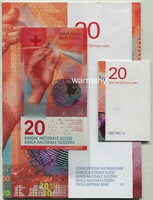 Switzerland Swiss 2017 Banknotes 20 Francs UNC with original Bank Guide Book