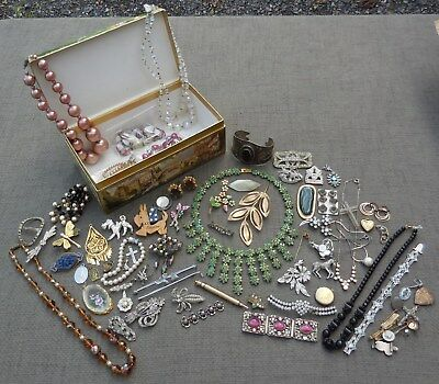 Job LOT Vintage ANTIQUE JEWELLERY Brooches EMERALD NECKLACE Wear Spares Repairs