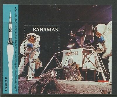 "BAHAMAS - SG. MS. 859 : 1989 "" ANNIVERSARY of the MOON LANDING "" Min. Sheet ."