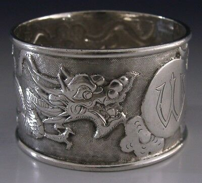 CHINESE EXPORT SILVER DRAGON NAPKIN RING ORIENTAL ANTIQUE c1900