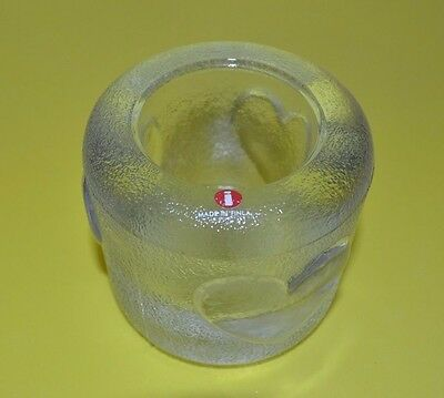 Iittala OF FINLAND  HARD TO FIND  EMBOSSED HEART CLEAR CRYSTAL GLASS  ROUND VOTI