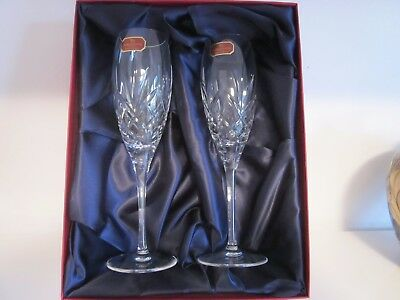 """Doulton International Crystal """"Isabelle"""" 2 Large wine glasses. Never Used Boxed"""