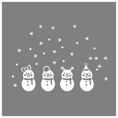 FP Lovely Window Decoration White Snowflake Merry Christmas Snowman Wall sticker