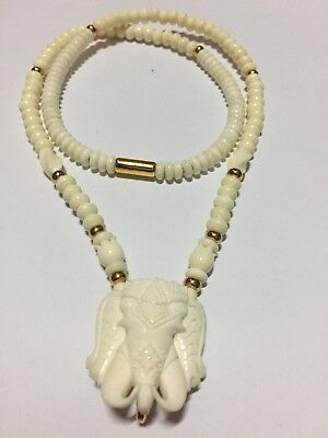 "Amulet Necklace Head Elephent 1 Hook 24"" Bone Power Rich Antique Thai Vintage"