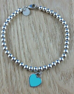 Tiffany and Co blue enamel heart small beaded bracelet 17cm