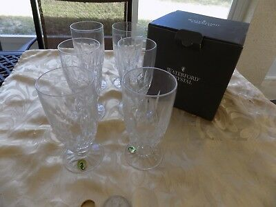 """6 Waterford Lismore ENCORE Iced Tea Glasses 6 1/2"""" tall 4 Boxed"""