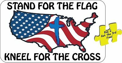 I Stand For The Flag Kneel For The Cross Flag Support Our Heroes Decal p63