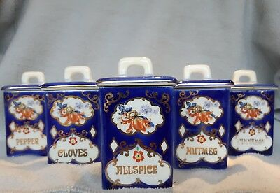 Vintage Ditmar Urbach Czechoslovakia Pottery Lot of 5 Mini Spice Canister