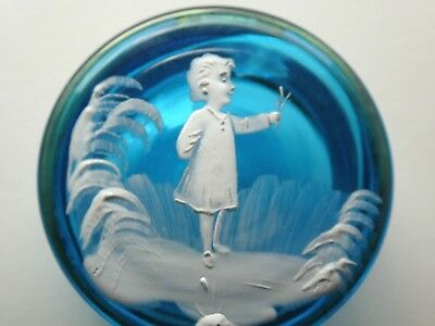 Vintage Mary Gregory Blue Trinket Box Girl With Flowers Rare