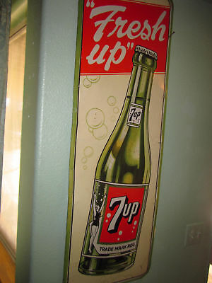 Rare Early Detailed 7Up Girl Version Tin Soda Sign
