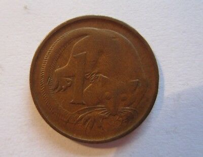 Rare Australian 1 cent coin, 1968. Circulated.
