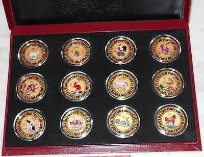 The Singapore Mint Set of 12 coins gold-plated Chinese Zodiac