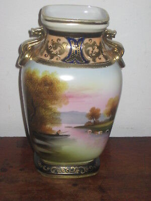 Charming Large Noritake Vase Colourful Lakeside Scene