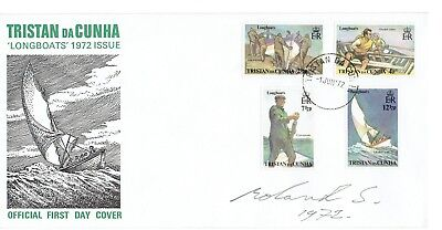 Tristan Da Cunha 1972 Longboats First Day Cover signed and dated by designer