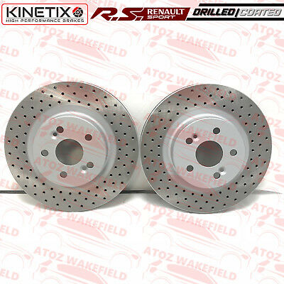 FOR RENAULT CLIO SPORT 197 FRONT KINETIX CROSS DRILLED COATED BRAKE DISCS 312mm
