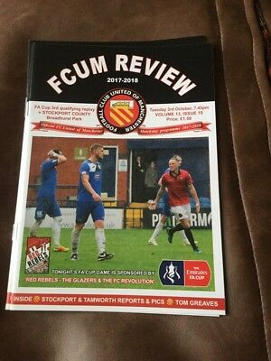 FC United of Manchester v Stockport County (FAC3Q) programme 3/10/2017
