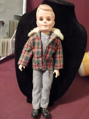 Vintage Tiny Teen Boy Doll Bob By Uneeda- Jean Jumpsuit And Checkered Jacket