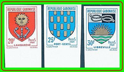 GABON 1969 COATS OF ARMS imperforated SC#253-55 MNH
