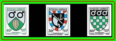 GABON 1972 COATS OF ARMS imperforated SC#291-93 MNH