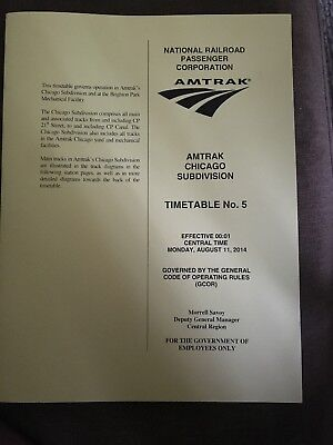 Amtrak Chicago Subdivision Timetable #5 August 11, 2014