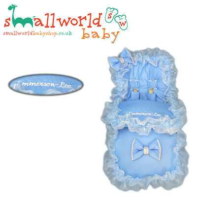Personalised Boys Blue Frilly Bling Footmuff Cosytoes (NEXT DAY DISPATCH)