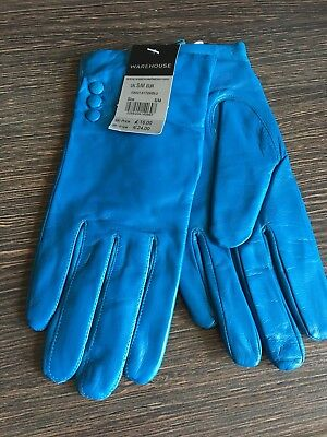 BNWT Ladies 100% Leather Gloves Bright Blue by Warehouse Size S/M