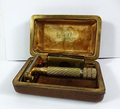 Old Gillette 430030 Gold Safety Razor - With Box & Holder - England - Vintage