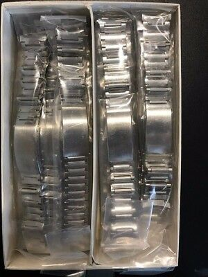 LB87 NOS Vintage Lot of 20 Silver Steel 18.5mm Bulova Watch Straps Clasp Bands