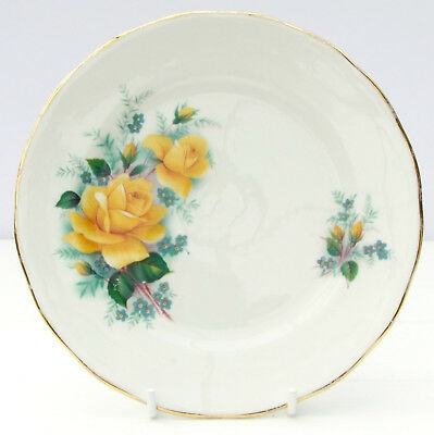 Vintage Queen Anne Bone China Floral Yellow Roses Tea Plate