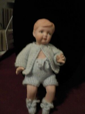Adorable All Bisque Little Boy Baby Doll Handcrocheted Blue Outfit W/booties