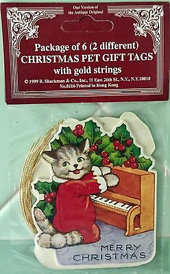 GIFT TAG ORNAMENTS Christmas Pets DOG & CAT Die-Cut Vintage Fast FREE Shipping!