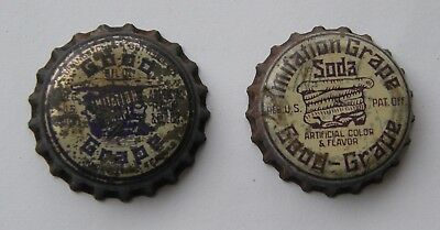 2 different cork-lined Good Grape soda bottle caps, 1 from Knoxville, TN