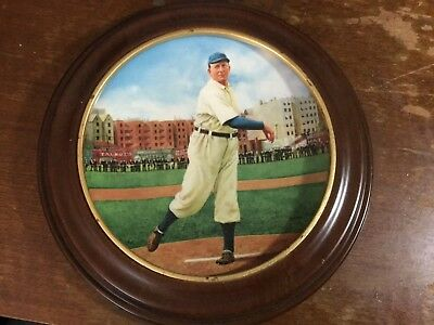 """CY YOUNG Plate """"The Perfect Game"""" With Oak Frame"""